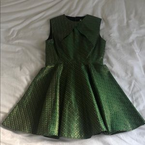 Green and gold thread dress